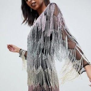 OMG WOW asos HEAVY fringe embellished romper dress